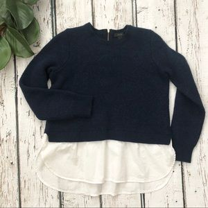 J. Crew Navy Blue Mock-Layer Wool Top Sweater L